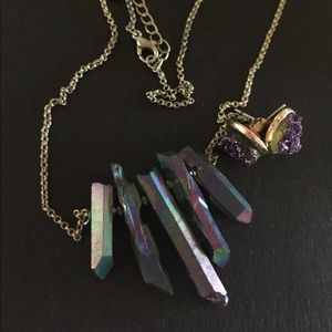 Crystal purple Earring and necklace set